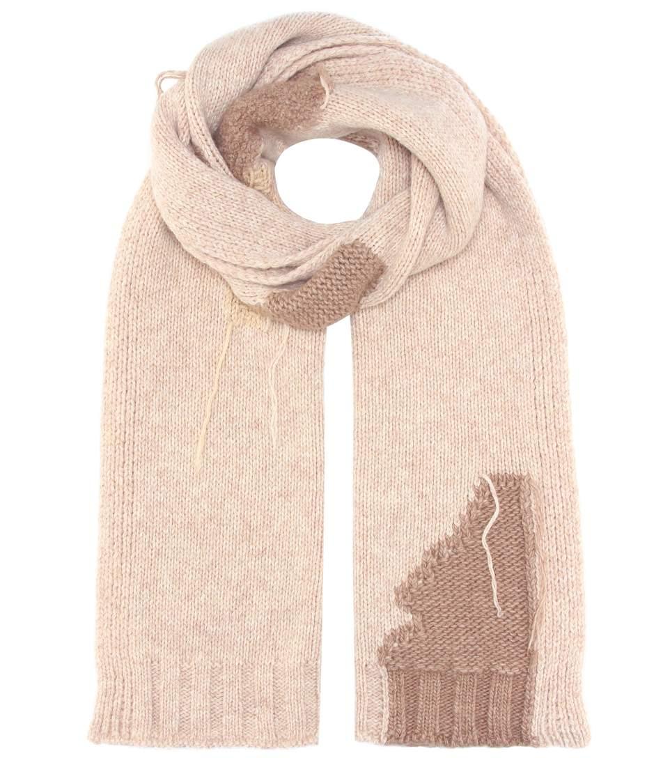 Acne Studios Distressed Intarsia-knit Wool-blend Scarf In Beige