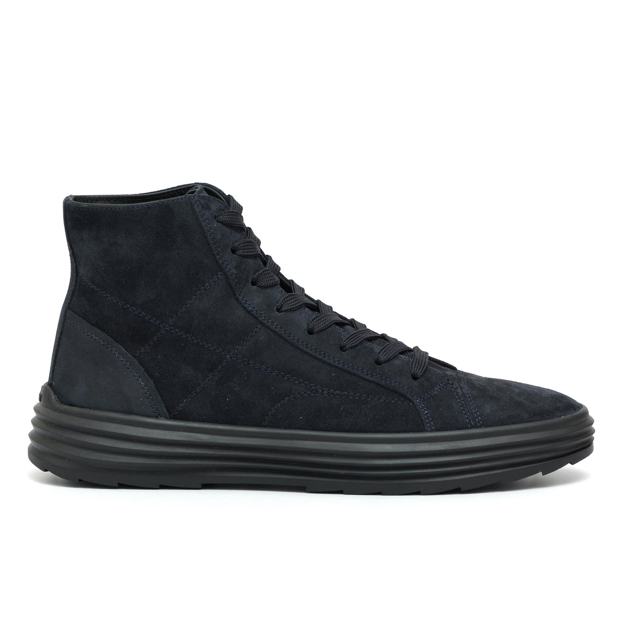 Hogan H341 Helix High Top Lace Up Shoes In Suede Blu In Blue ...