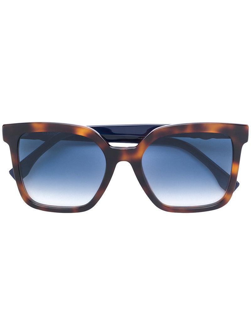 2367831743 Fendi Eyewear Rechteckige Oversized-Sonnenbrille - Braun