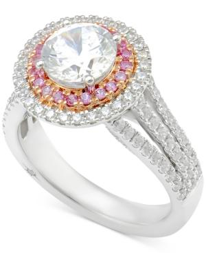 Marchesa Certified Diamond Engagement Ring (2-1/2 Ct. T.W.) In 18K White Gold And Rose Gold, Created For Macy