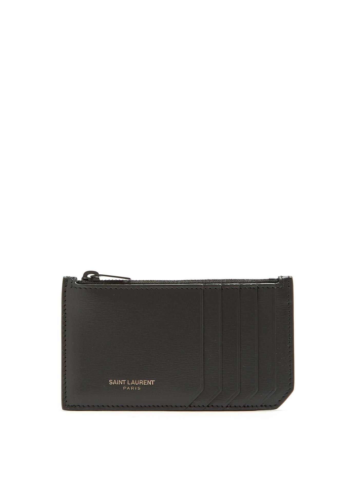 b4fca1c197 Fragment Leather Zip Card Holder in 1000 Black