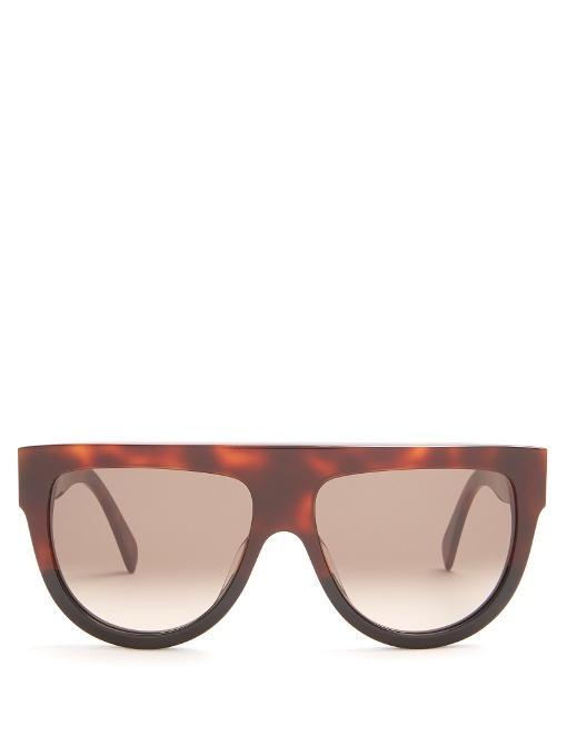 798a6056952 Celine Shadow Aviator D-Frame Acetate Sunglasses In Tortoiseshell ...