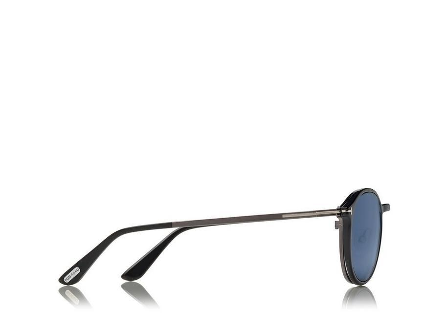 e44b9d88188 Tom Ford Soft Rounded Optical Frame With Magnetic Clip In Ruthenium Black