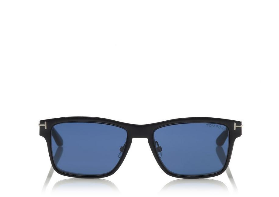 3e5f41b22c09e Tom Ford Soft Square Metal Optical Frame With Magnetic Clip In Ruthenium  Black