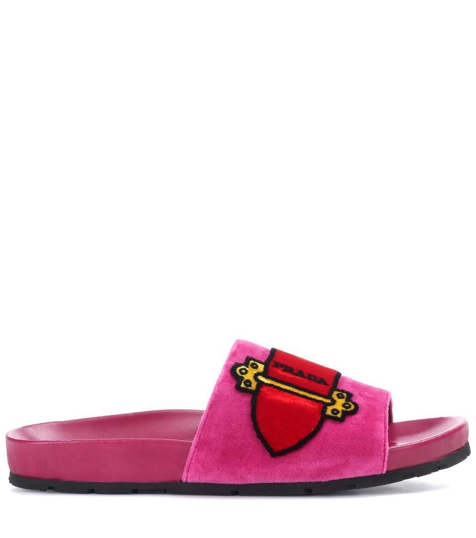 Prada Cartoon Velvet Slides In Pink