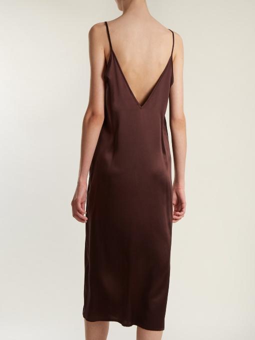 22decb4f6707d Raey V-Neck Silk-Satin Midi Slip Dress In Burgundy | ModeSens