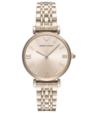 a4cbf15b18 Emporio Armani Women's Two Hand Rose Gold-Tone Stainless Steel Watch, 32 Mm  in Pink