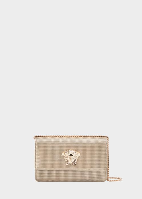 f3a4287e2f Laminated Palazzo Evening Bag in Gold