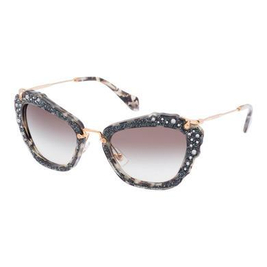 409c326a066 Miu Miu Noir Eyewear With Glitter In Gradient Anthracite Gray Lenses ...