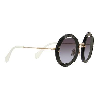ea8ee20e375 Miu Miu Reveal Glitter Eyewear In Gradient Smoky Gray Lenses