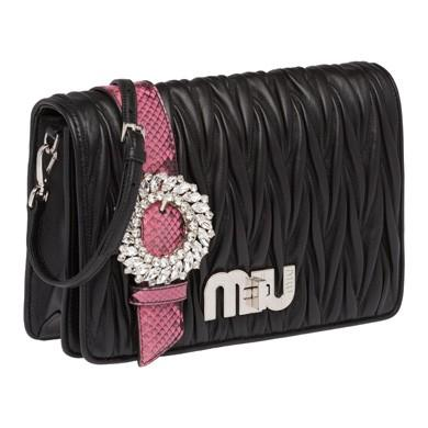 c0abee35b683 Miu Miu My Miu MatelassÉ And Ayers Leather Bag In Black/Pink | ModeSens