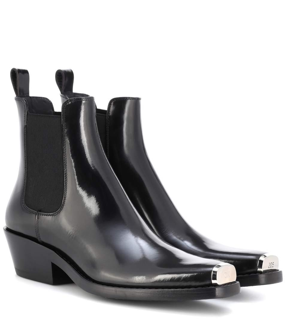 edbd6ba0664 Calvin Klein 205W39Nyc Claire Metal-Trimmed Glossed-Leather Ankle Boots In  Black