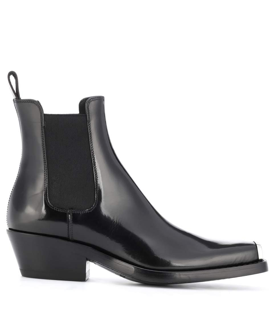 afbee3fc77b CALVIN KLEIN 205W39NYC. Claire Metal-Trimmed Glossed-Leather Ankle Boots ...
