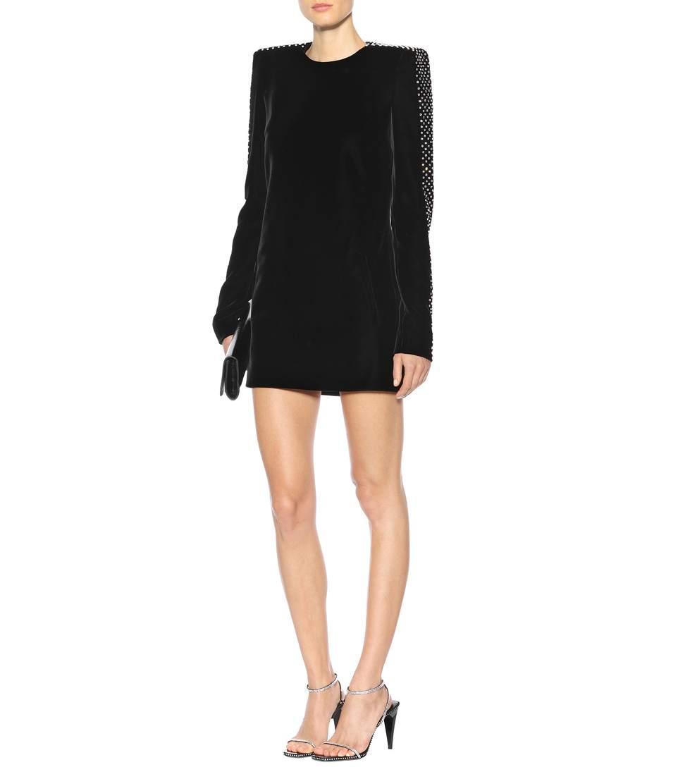 96cf696bb1 Straight-Cut Mini Dress With Square Shoulders In Black Velvet