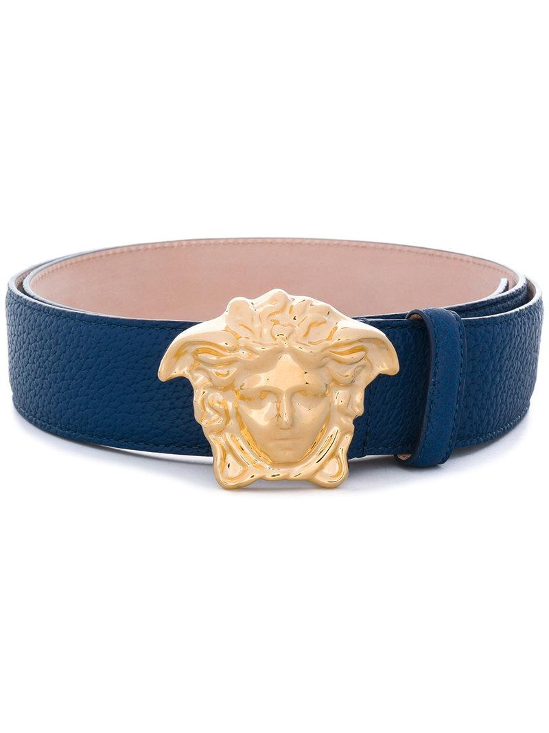 f9de3c1fe2 Versace Medusa-Buckle Leather Belt In Blue
