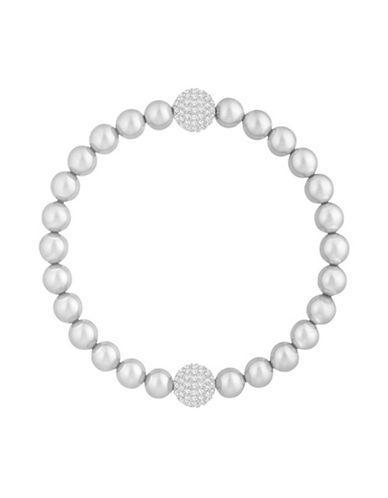 d703d6c8e5449 Remix Collection Pave & Imitation Pearl Flex Bracelet in Silver