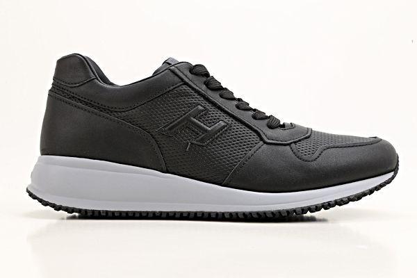 Hogan Interactive N20 Leather Sneakers In Black | ModeSens