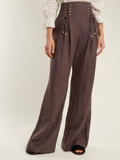 Zimmermann Painted Heart Wide-Leg Lace-Up Linen Trousers In Charcoal
