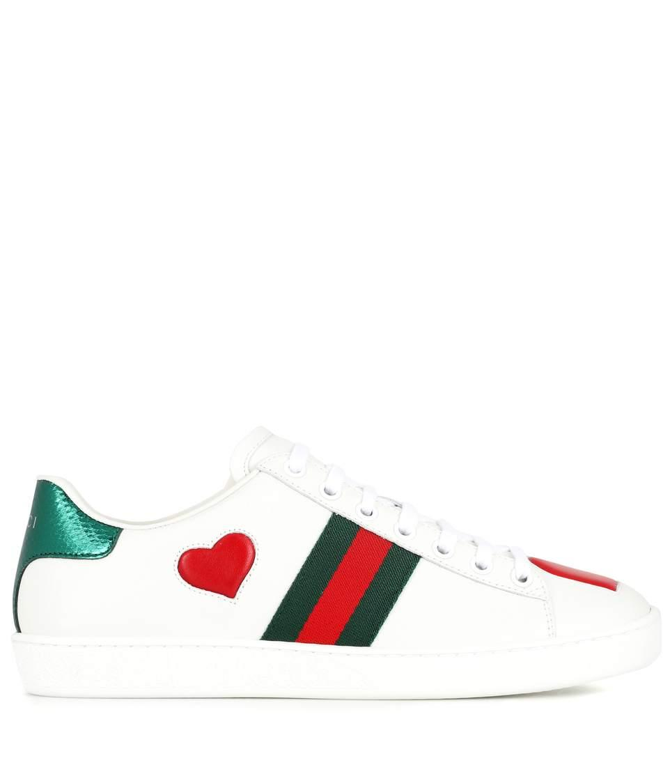 7246f766d7d Gucci Ace Snakeskin-Trimmed Leather Sneakers In White
