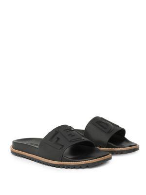 e44ab1f0d8a8 Fendi Rubber Slide Sandals W  Raised Logo Detail In Black