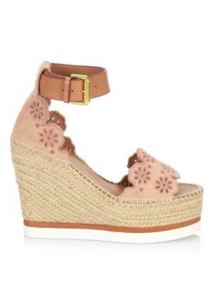 6d71646f63ab See By ChloÉ See By Chloe Cutout Suede Espadrille Platform Wedge Sandals In  Cipria