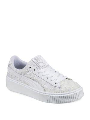 8616933f13a7 PUMA Women s Basket Classic Floral Lace Lace Up Platform Sneakers in White. Puma  Women