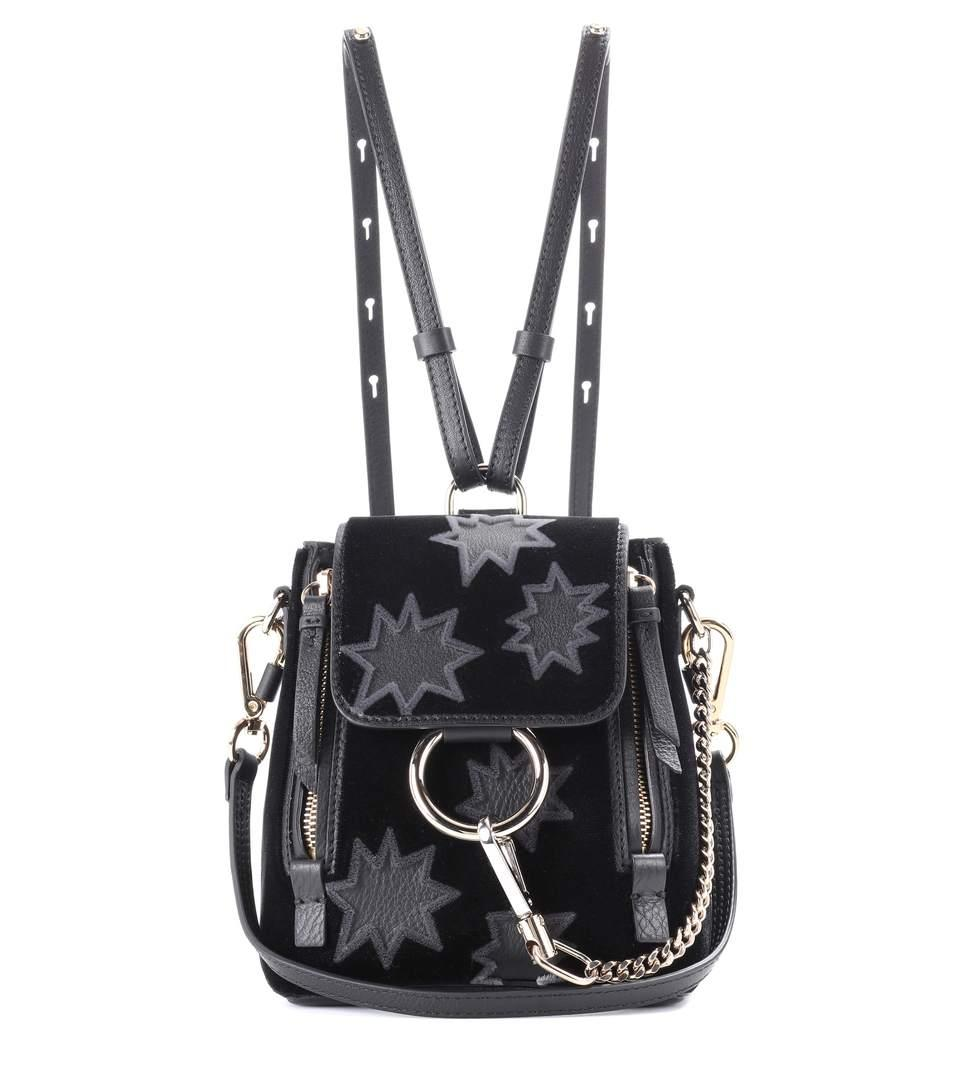 5cc7b481111c ChloÉ Faye Mini Leather Suede Backpack In Black