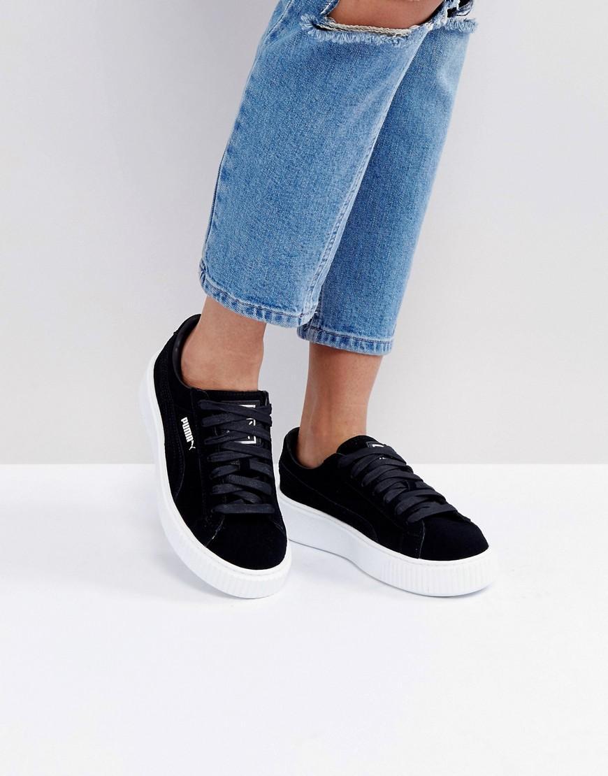 Suede Platform Core Sneakers In Black - Black