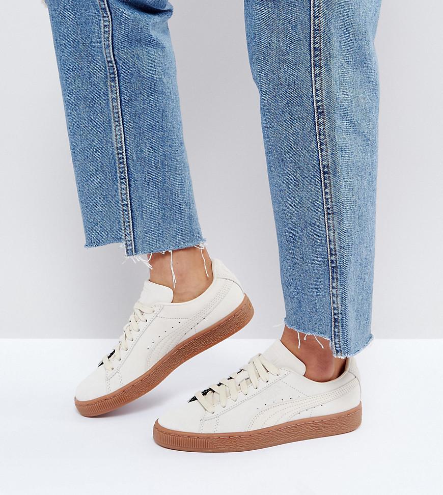 Suede Classic Sneakers With Gum Sole In Beige - Beige