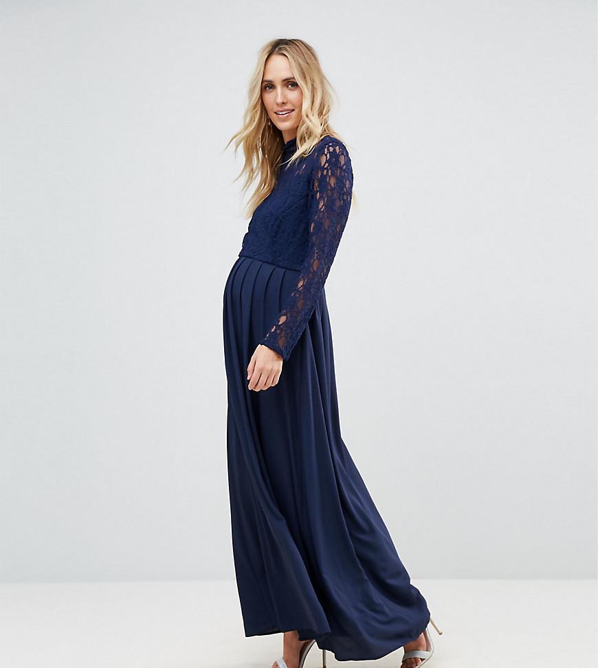 71489d6f3e3e Queen Bee Lace Bodice Maxi Dress With Chiffon Skirt - Navy | ModeSens