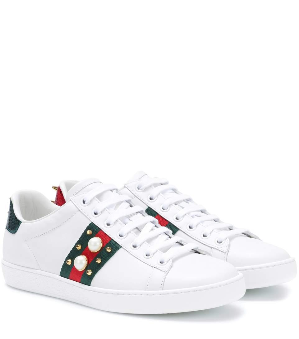 0fe0ecbc524 Gucci Ace Faux Pearl-Embellished Metallic Watersnake-Trimmed Leather  Sneakers In White