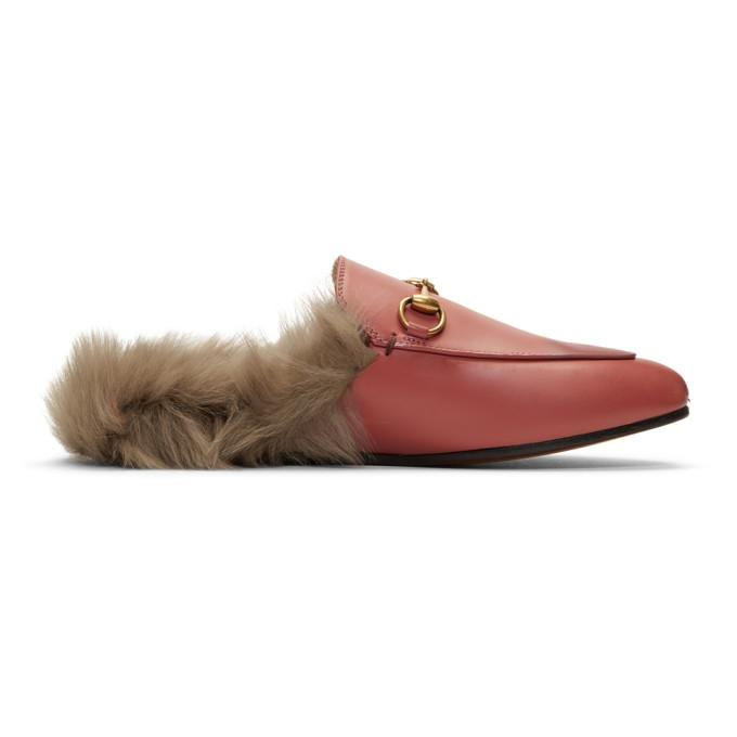 e304cc287ea Gucci Princetown Horsebit-Detailed Shearling-Lined Leather Slippers In  Lipstick Rose