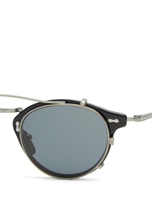 d438693bb52 Gucci Detachable-Lens Round-Frame Acetate Sunglasses In Black