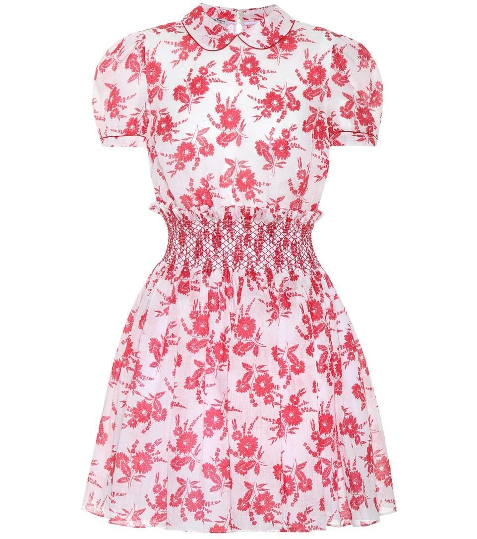 650a748c4ae Miu Miu Floral-Print Smocked-Waist Mini Dress In Red Print