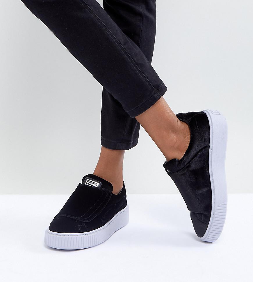 Puma Velour Strap Platform Sneakers In Black - Black | ModeSens