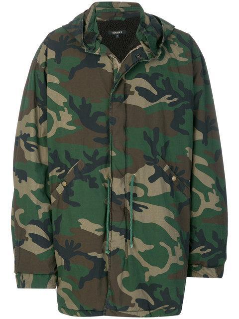 31b8d5321 Yeezy Men s Green Camouflage Military Parka Jacket