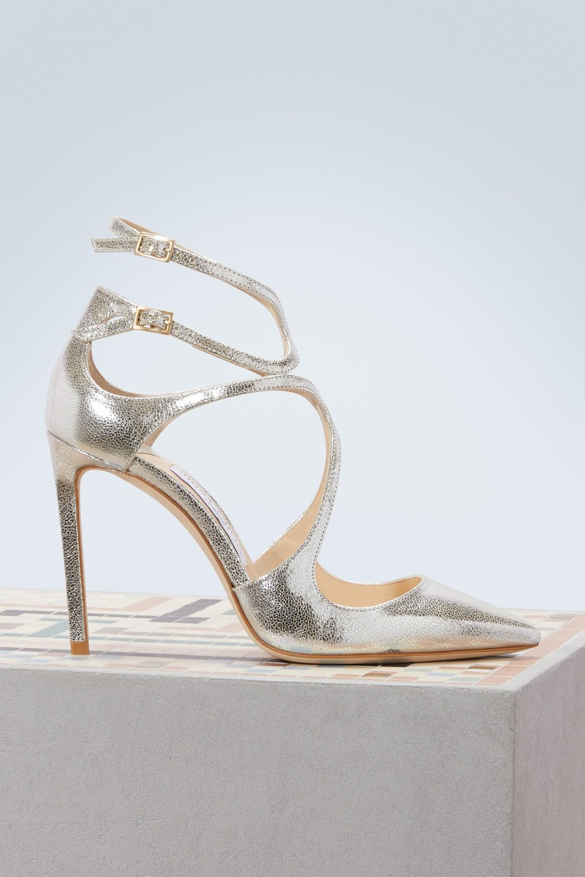 f70a0a3e0a Jimmy Choo Lancer 100 Metallic Cracked-Leather Pumps In Silver ...
