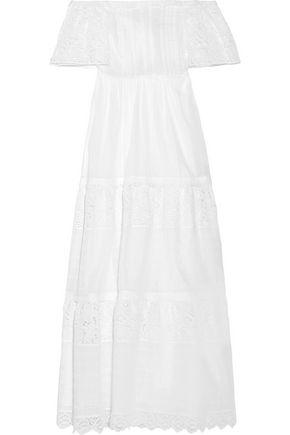 VALENTINO WOMAN OFF-THE-SHOULDER BRODERIE ANGLAISE COTTON-BLEND MAXI DRESS WHITE,US 4772211930991944