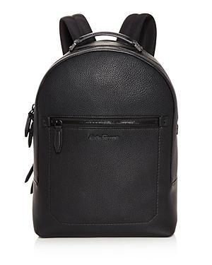 a0145aa579 Salvatore Ferragamo Muflone Metallic Leather Backpack In Black ...