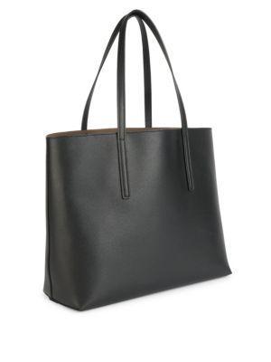 8f2f15b9b0 Fendi Logo Shopper Leather Tote Bag - Black