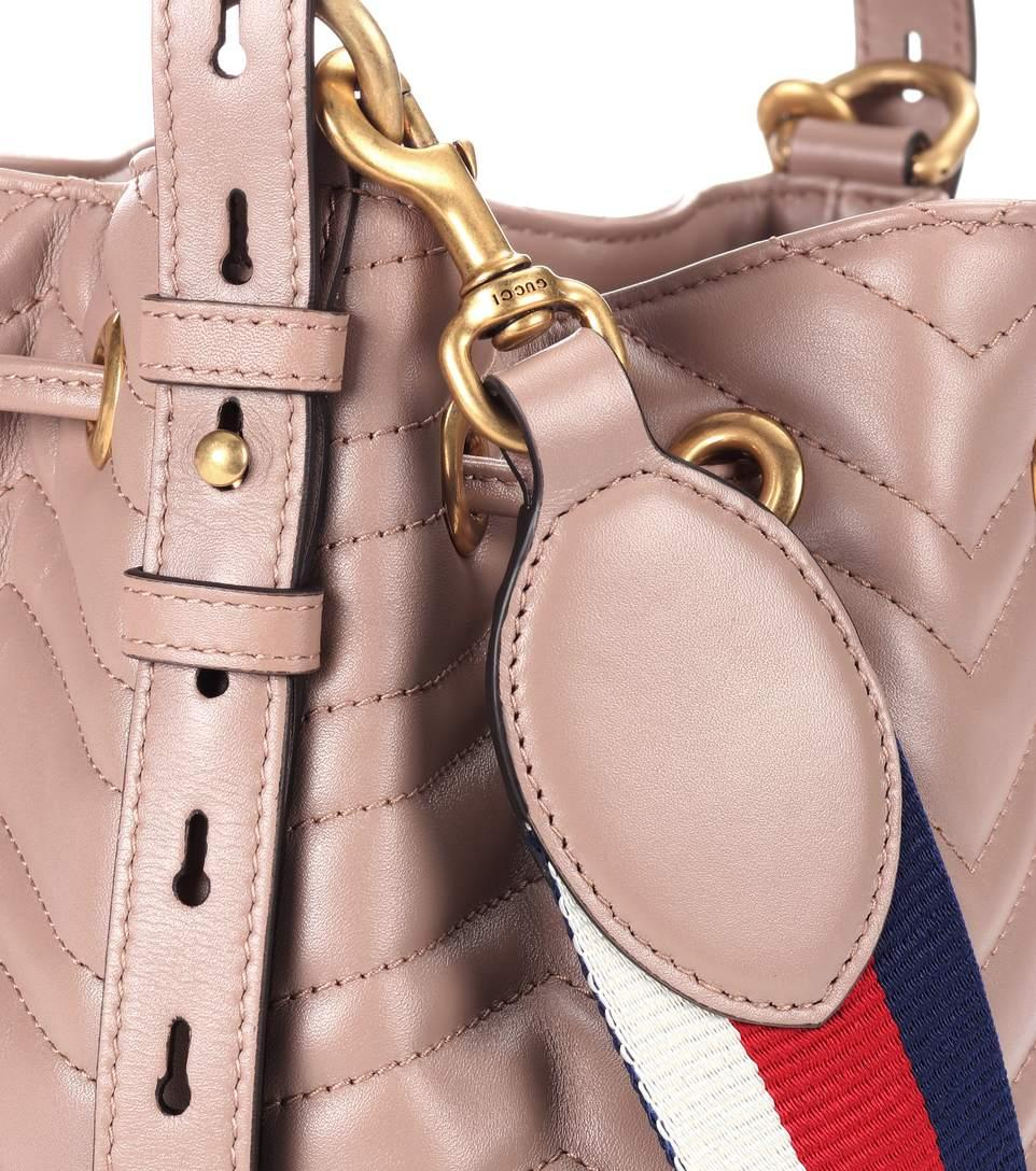 Gucci Gg Marmont Quilted Leather Bucket Bag In Beige