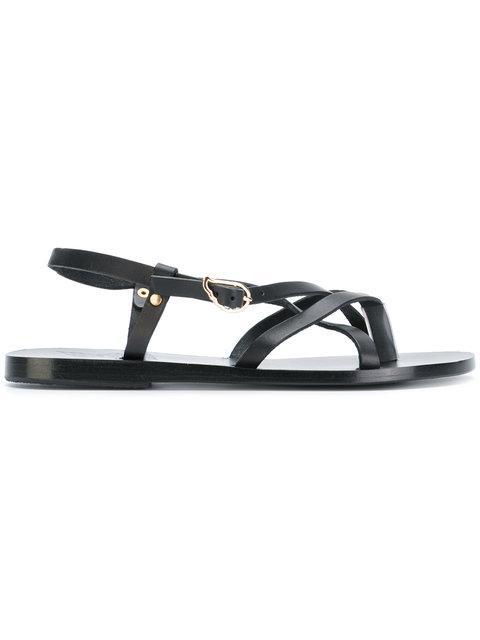 Ancient Greek Sandals Semele Flat Sandals In Black Modesens