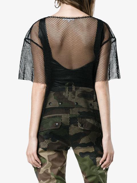 58260832ba63 Helmut Lang Black Courtney Fishnet T-Shirt | ModeSens