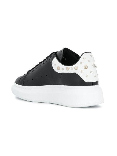 Alexander Mcqueen 'Oversized Sneaker' In Leather With Stud Collar In Black