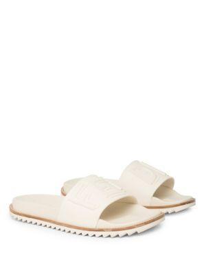 ce863373c3d7 Fendi Rubber Slide Sandals W  Raised Logo Detail