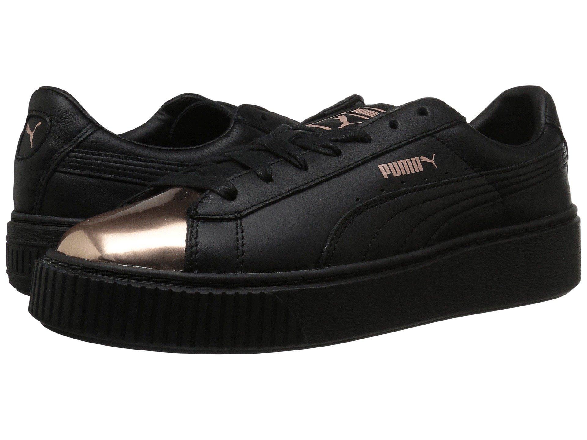bd59794360bd Puma Leather Basket Platform Metallic Sneakers In Black Rose Gold ...