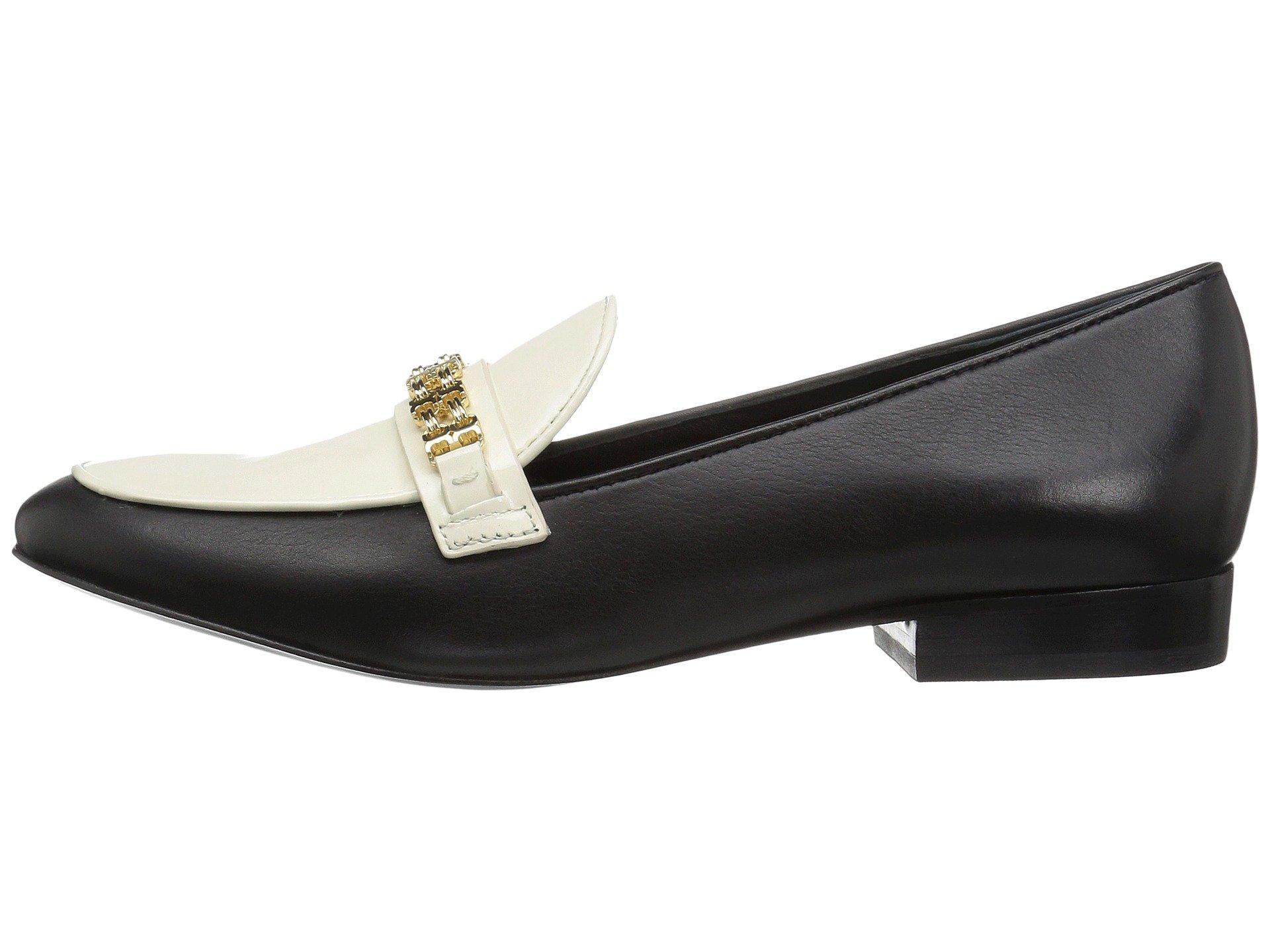 fea71848e2bc01 Tory Burch Gemini Link Black Leather And Bleach Patent Leather Loafer Shoe  In Black Bleach