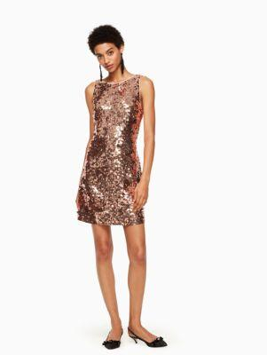 e33604bf4e4 Kate Spade Sequin Open-Back Bow Mini Dress In Pale Rose Gold