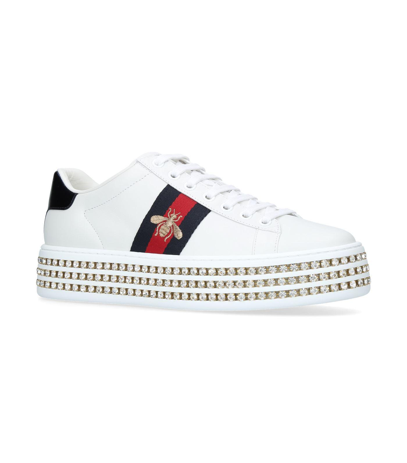 0a253f4045b1 Gucci New Ace Crystal Bee-Embroidered Leather Sneakers In 9095 White ...