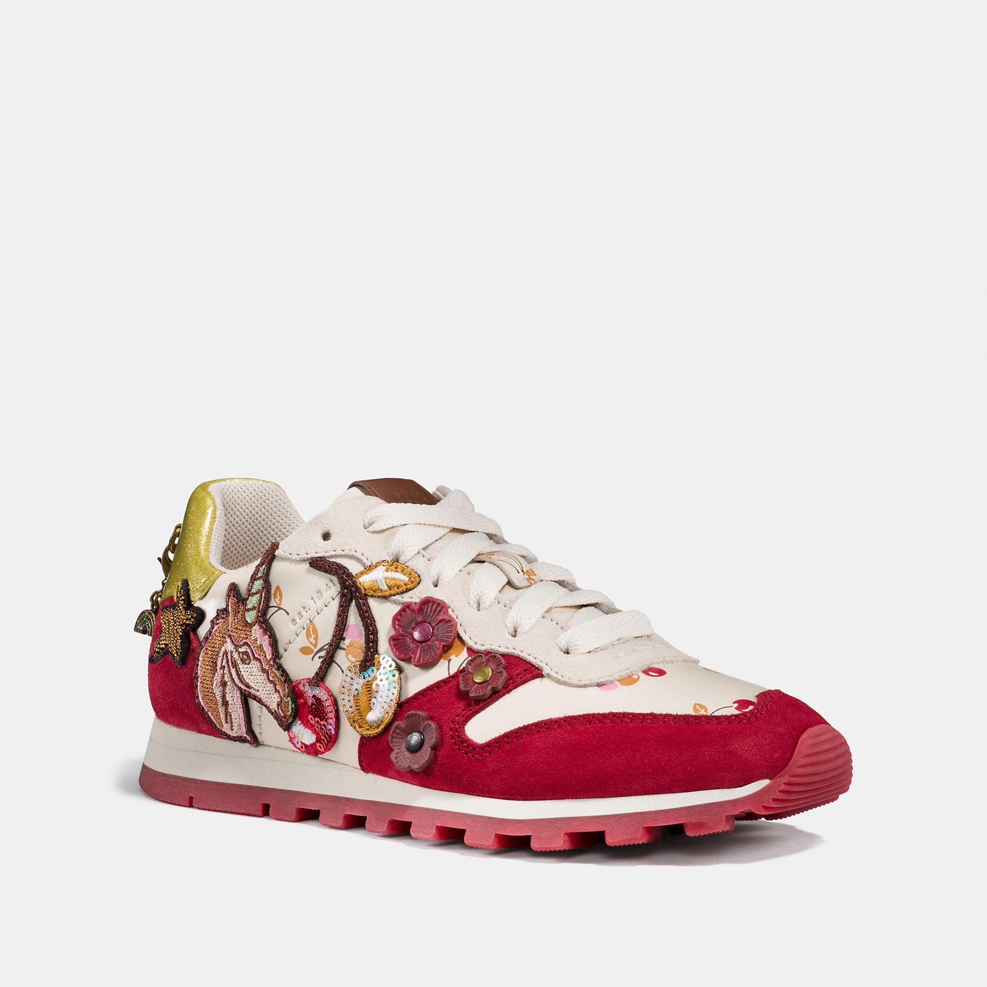 4c633ce8 Coach C125 Runner With Uni Patches - Women's in Ivory/Red